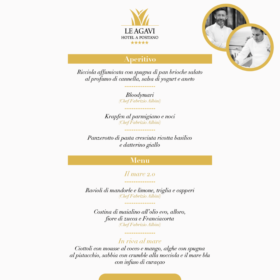 menu Positano gourmet